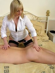 Blonde wife spanking man