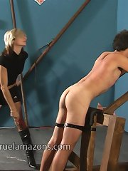 Blonde domina punished malesub by a cane