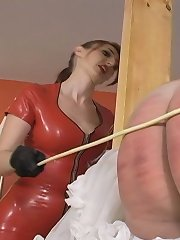 Sissy malesub was locked and caned hard