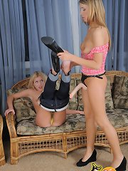 Sweet blonde legal age teenager sucks this large Strap-on raw and receives drilled harder!