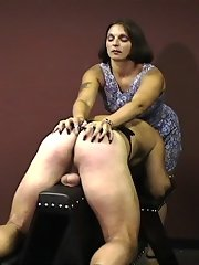 Older Femdom whips also scratches ailing slave