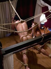 Beautiful redheaded bitch ties up slave boy
