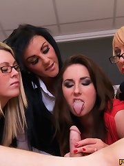 Arrogant boss is brought down to earth by sexy girls who disrobe and milk him