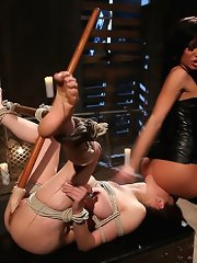 Devastatingly hawt lezdom with large love muffins whips and fist copulates cute slavegirl into submission