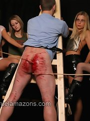 Boy`s ass was caned to the blood