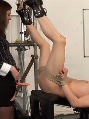 Two dominant women punished a bad schoolboy