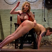 Kid tribade domme dominates older women by renounce be transferred to knee spanking, foot and ass licking in fine fettle first time strap-on sex!