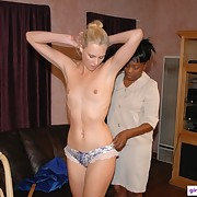 A blonde babe was spanked by ruler