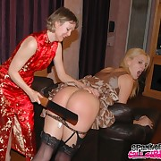 Morose blonde's bore was caning by her nearby in arms mother.
