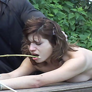 Chick tied and caned hard