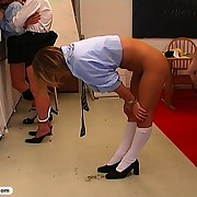 Foxy blonde teens get spanked and caned
