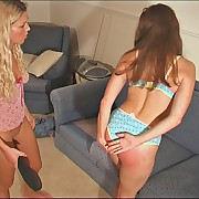 Blonde spanked her girlfriend hard with different tools