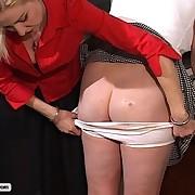 Plumper Schoolgirl receives her big butt pummeled then wet with an enema