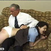 Perverted granddad loves spanking his naughty compendious girl