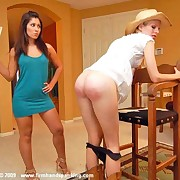 The hot cowgirl was paddled