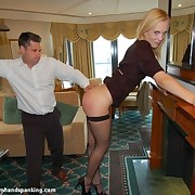 Bare bottom spanked babe