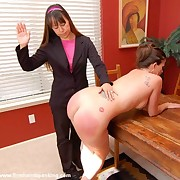 A big tit babe was spanked
