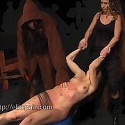 The bound slavegirl got whipped brutally