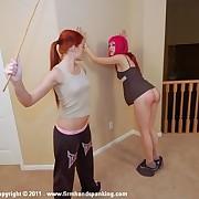 Spiteful miss spanks her lesbian lass