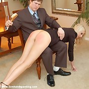 Leafless bottom hand coupled with hairbrush spanking for hot draining menial Adrienne Black