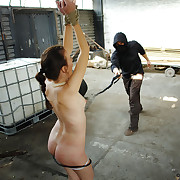 Handcuffed Kathy was bullwhipped brutally.