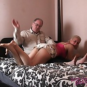 Prurient soubrette gets fell whips on her backside
