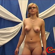 Blonde chick worn glasses was punished