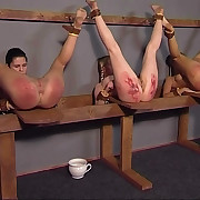 Two superb girls constrained and tortured with their wings in the air