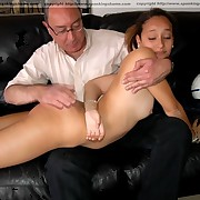 Stunning brunette hair is in nature's garb and mercilessly spanked on her nude ass