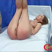 Skinny cuffed blonde is having divertissement when spanked