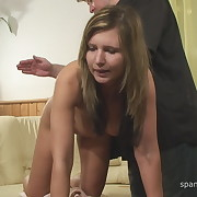 Lecherous femme gets depraved spanks on her nates