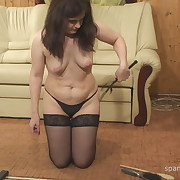 Lecherous fille gets hellish whips on her bum
