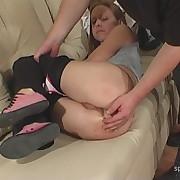 Filthy soubrette gets brutal spanks on her rump