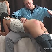Lewd skirt has callous whips on her glutes