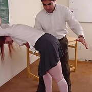 Slutty chick gets her buxom ass spanked