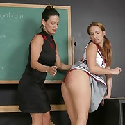Criminal girls getting their plump butts slapped