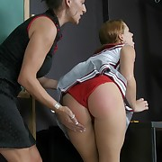 Naughty cheerleader skips class added to gets punished in front for her class take heaps for arse spanking