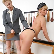 Tow-headed mature spanked