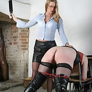 Full-grown secretary spanked added to caned