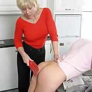 Prurient puss gets cruel spanks on her tail