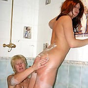 Female lashing in bathroom