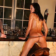 Succulent unadorned brunette gets dazzling bullwhipped in saddle with attending