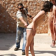 One hot babes punished undress at the pool under the hot southern sun