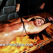 Streched out to her square this hot diaphoresis slavegirl suffers in pure whipping torture