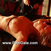 Hot blonde slavegirl Helen has on every side brook an extreme pussy with an increment of tit whipping suffering