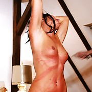 Hot nude brunette gets horrible whipped on ass tits with an increment of pussy relating to her bedroom