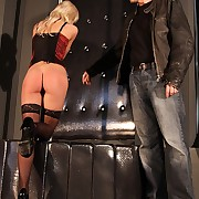 Tiny titted blonde in ties punished by most stinging whip lashes atop their way hot bare ass