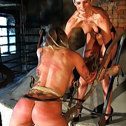 One juicy nude babes are roped increased by lashed brutally by a full dose with chum around with annoy dogwhip