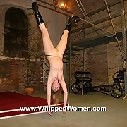 Blondes soft pallid skin under ultra severe upside down suspension bullwhipping
