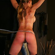 Three stinging bullwhips trashing shoved blondes hot tits, ass and belly